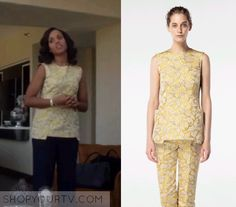 Scandal: Season 5 Episode 19 Olivia's Yellow Floral Embroidered Top