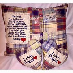 Memorial pillow, Memory Pillow, with Embroidered patch, this is ...