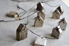 Leuk idee: slinger van sloophouten huisjes. O.a. Verkrijgbaar bij Wis en Waarachtig