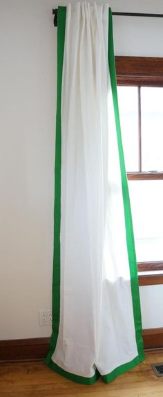 DIY Tutorial: Ribbon Trimmed Curtains - Ikea Ritva Hack  by Oakland Avenue