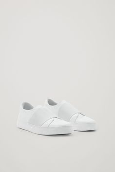 COS image 10 of Wrap-over leather sneakers in White
