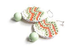Mint green Earrings coral Vanilla Sequins embroidered felt SALE CIJ 15%. $34.00, via Etsy.