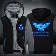 eed3e66e55441c 2016New Winter Fashion Luminous pattern Assassin Creed Hoodie Zipper  Sweatshirt Ticken Cool Hoodies Men USA EU size Plus size