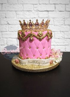 Fabulous Crown Cake Decorating Ideas regarding Pink Quilted Cake With A Crown On Top Birthday Cake Crown, 25th Birthday Cakes, 20th Birthday, Beautiful Birthday Cakes, Beautiful Cakes, Bolo Tumblr, Cake Pink, Quilted Cake, Sweet 16 Cakes
