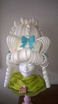 Material: EVA Foam Type: White Marie Antoinette Foam Wig with details Colour: Off white Size; on request  Lady Mallemour makes foam wigs on demand.