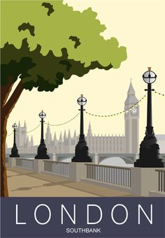 Southbank, London. Cross the river and visit Gordon's Wine Bar! Railway Poster style Illustration by www.whiteonesugar.co.uk