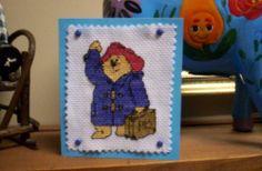 """cross stitched """"Paddington Bear"""""""