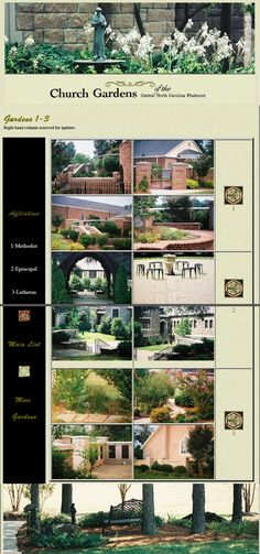 Church Gardens of the Carolina Piedmont: Another page from the former website, re-assembled Lutheran, North Carolina, Gardens, Landscape, Website, Scenery, Outdoor Gardens, Corner Landscaping, Garden