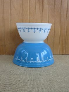 Vintage Pair Pyrex Bowls White Milk Glass Blue on Etsy, $36.00