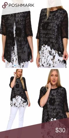 BOHO CROCHET TWO-FER TOP This darling printed, crochet two-fer is so pretty! Black crochet top over a black print top. Black crochet piece has a tie accent in back. 55% ramie, 45% cotton. Measurements upon request. tla2 Tops Tunics
