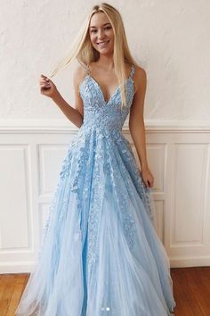 Elegant Lace Prom Dresses V-neck Long Prom Dress Tulle Evening Dress Formal Gowns Cheap Prom Gowns DESCRIPTION The prom dresses are fully lined, 8 bones in the bodice, chest pad in the bust, lace up back or zipper back are all available, total 126 co Blue Lace Prom Dress, V Neck Prom Dresses, Cute Prom Dresses, Long Prom Gowns, Beaded Prom Dress, Maxi Dresses, Elegant Dresses, Light Blue Prom Dresses, Long Dresses