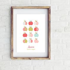 Affiche Pomme d'amour - fille - Affiche Bebe Nature, New York, Home Decor, Wall Art, Posters, Daughter, Love, Homemade Home Decor, New York City