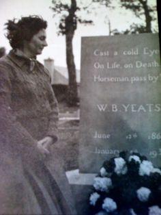 Mary O'Malley at Yeats' grave - Sligo, Ireland (1961) http://nuigarchives.blogspot.it/2011/01/wb-yeats-and-lyric-theatre.html