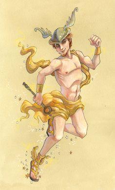 Hermes by Jeff Davis Hermes Mythology, Greek Mythology Art, Roman Mythology, Character Art, Character Design, Greek Pantheon, Roman Gods, Greek Gods And Goddesses, Rainbow Art