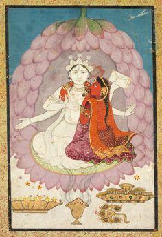 Vishnu and Lakshmi Seated on a Lotus Blossum, early 1900s India, Pahari Hills, Kangra school, 19th century | Cleveland Museum of Art
