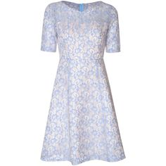 True Decadence Sweetheart Lace Skater Dress, Blue/White ($110) ❤ liked on Polyvore featuring dresses, floral maxi dress, short sleeve maxi dress, skater skirt, white dress and white skater skirt