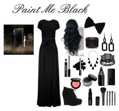 """""""Paint Me Black"""" by cosmic-calum ❤ liked on Polyvore featuring Lanvin, even&odd, PINK BOW, Oasis, Rebecca, Kendra Scott, Anastasia, NARS Cosmetics, Urban Decay and Bobbi Brown Cosmetics"""