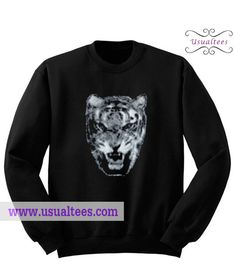 Tiger Head Sweatshirt from usualtees.com This sweatshirt is Made To Order, one by one printed so we can control the quality.