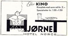 Etter Kino Bergen 1930 tallet. 12th Century, Bergen, Vintage Ads, Norway, History, Photo Illustration, Historia, Old Ads