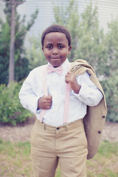Ringbearer's stylish bow tie and suspenders! Pink Suspenders, Ring Bearer Outfit, African American Weddings, Page Boy, Rings For Girls, Groom And Groomsmen, Here Comes The Bride, Wedding Attire, Wedding Inspiration