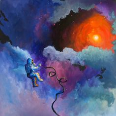 """""""The Darkness Has Not Overcome Him"""" by J. Travis Duncan. An astronaut, tethered to an umbilical, stares at a distant galaxy while on a solo space walk."""