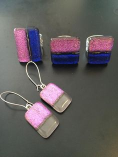 Handmade, fused glass jewelry by Miss Olivia's Line. #MOL #glitter Additional items posted at https://www.facebook.com/MissOliviasLine