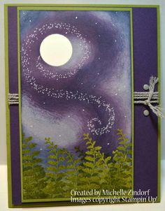 Wild Night Card created by Michelle Zindorf using Stampin' Up! Products - Butterfly Basics Stamp set -- wisteria wonder, old olive, night of Navy, elegant eggplant, smoky slate and mossy meadow colors and cardstock. Cool Cards, Diy Cards, Stampin Up Karten, Winter Karten, Stamping Up Cards, Winter Cards, Watercolor Cards, Halloween Cards, Paper Cards
