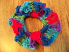 Hair Scrunchies - Hand Crocheted - Colors - Blues Greens Purples & Reds (#16)  #Scrunchies #Any
