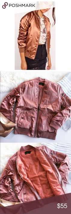 - ROSE GOLD - MA1 Satin Bomber Jacket The epitome of hot, match celebs with this gorgeous rose gold satin bomber. Pair with a form fitting jumpsuit and nude heels for a night out or dress for a casual brunch with oversized shades and scarf. Ruching on sleeves. Boutique item, NWT, comes in original dust bag.  Bundle & Save 20% on 2+ items! No trades / selling off of Posh. ✨Offers always welcome!✨ Claire Louise Boutique Jackets & Coats