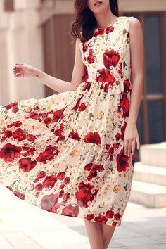 Folded Floral Print Round Neck Sleeveless Dress