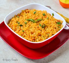 Spicy Treats: Home Made Ginger Garlic Paste N Quick Tomato Rice ~ Easy Lunch Box Recipe