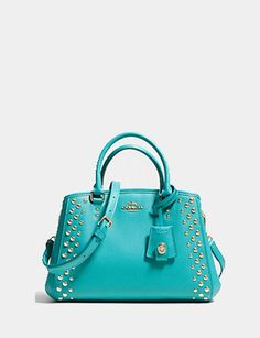 Coach Mini Margot Carryall in Studded Crossgrain Leather Light Gold/cadet Blue (teal) Coach Leather Handbags, Blue Handbags, Coach Handbags, Coach Bags, Cute Purses, Purses And Bags, Fashion Handbags, Fashion Bags, Rolling Laptop Bag