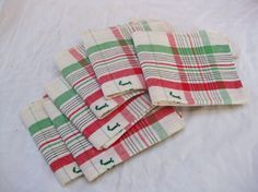 Tea towels, UNUSED stack of French green and red plaid torchons with monogram