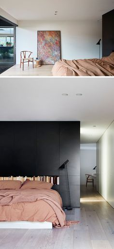 Black Brick Is Featured Throughout This Modern Australian House Black Brick Is Featured Throughout This Modern Australian House Julia Moritz juliiamoritz Innenausbau Bedroom Ideas In this modern master nbsp hellip master bedroom bold Modern Luxury Bedroom, Minimal Bedroom, Luxury Bedroom Design, Modern Master Bedroom, Luxurious Bedrooms, Modern Interior, Brick Bedroom, White Bedroom Furniture, Bedroom Red