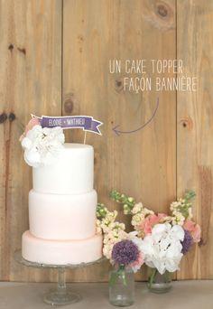 DiY : Un cake topper façon bannière (divers coloris dispo) par la mariée aux pieds nus