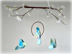 FREE SHIPPING Cherry blossoms and bird mobile  by LullabyMobiles, $120.00
