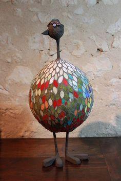 Sculpture Poule en mosaïque : Volatile 2ème : Mosaiques par mosa-louisa