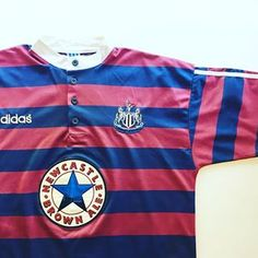 """123cc55999e Iconic Kits on Instagram  """"The holy grail of 90s Newcastle shirts - link in  bio ☝  newcastle  newcastleunited  nufc  toonarmy  themagpies  adidas ..."""