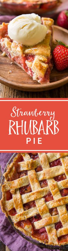 strawberry rhubarb pie is a classic spring and summer dessert! Thick filling and buttery homemade pie crust! Recipe on Sweet strawberry rhubarb pie is a classic spring and summer dessert! Thick filling and buttery homemade pie crust! Recipe on Rhubarb Recipes, Tart Recipes, Baking Recipes, Dessert Simple, Stem Challenge, Sallys Baking Addiction, Muffins, Homemade Pie, Pie Dessert