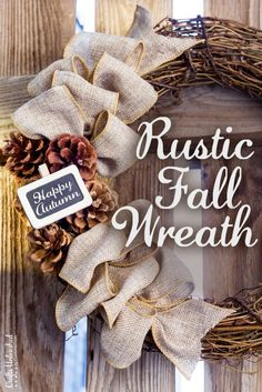 Here's a fun and easy rustic DIY fall wreath you can start picking up supplies for so that your porch is ready when Autumn hits! It's so pretty & simple.