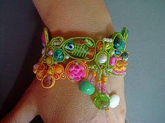 Soutache beaded bracelet