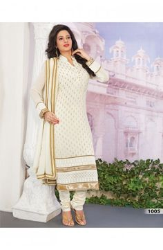 Off White Faux Georgette Jacquard Churidar Kameez-1005  Now, place your Order now : Email:- raksha@silk-india.com