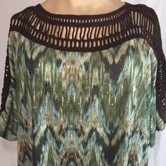 Avenue Crochet Neckline Blouse Artsy Beaded Boho Top 26 28 Women's Plus Fashionable Plus Size Clothing, Boho Tops, Plus Size Outfits, Artsy, Neckline, Tapestry, Stylish, Blouse, Crochet