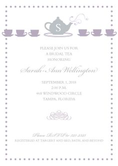 Tea Time Bridal Shower Invitations for Any Tea Party Shower.