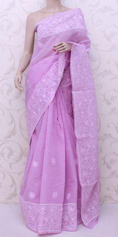 Lucknowi Chikan Saree (W/B-Cotton) 12817