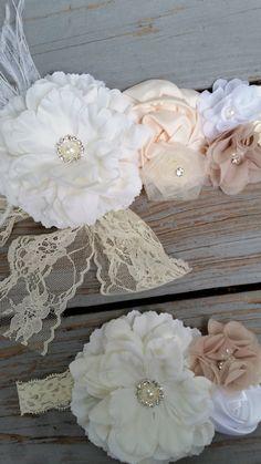 Vintage Shabby Chic Bridal Sash Set -Flower Girl Sash/Belt/Rustic Flower Girl-French Country Bridal Sash-Bridal Sash Feathers-Headband Set