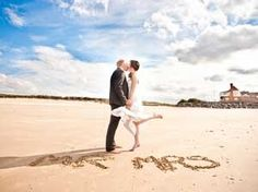 Beach Wedding Photo Ideas - not sure id do Mr Mrs, but still cute if you did your wedding date or something