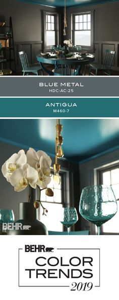 Add your own unique flair to the interior design of your home with a painted ceiling! The bright blue of Antigua by Behr Paint contrasts with the dark… – Renovation – definition of renovation by The Free Dictionary Indoor Paint Colors, Paint Colors For Living Room, Interior Paint Colors, Paint Colors For Home, House Colors, Dark Grey Dining Room, Living Room Grey, Behr Colors, Trending Paint Colors