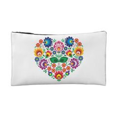 Traditional Polish floral folk embroidery pattern Makeup Bag