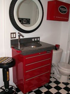 Tool box sink, tire mirror, and tech box cabinet. good idea for garage or man cave bathroom. Garage Bathroom, Man Cave Bathroom, Concrete Bathroom, Garage Sink, Guys Bathroom, Garage Bar, Simple Bathroom, Car Garage, Car Part Furniture